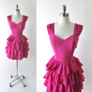 Vintage 80's Tie Top / Ruffled Skirt Mini Dress